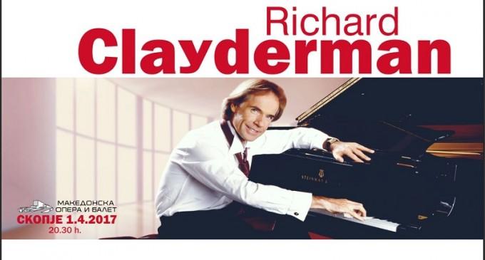 Пијанистот Ричард Клајдерман во април во Скопје