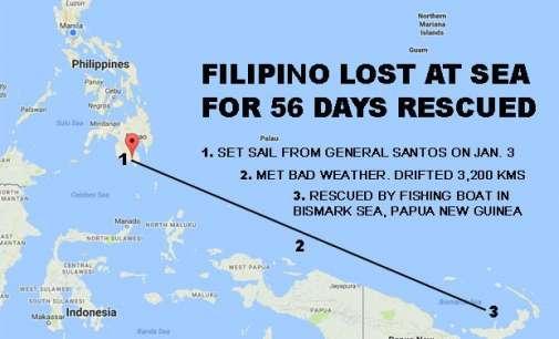 Филипинец спасен по 56 денови на море
