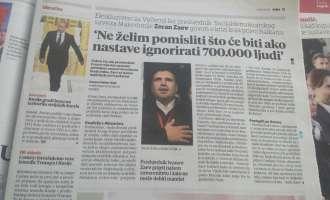 Заев за Vecernji list: Иванов е должен да го почитува гласот на 700 илјади граѓани
