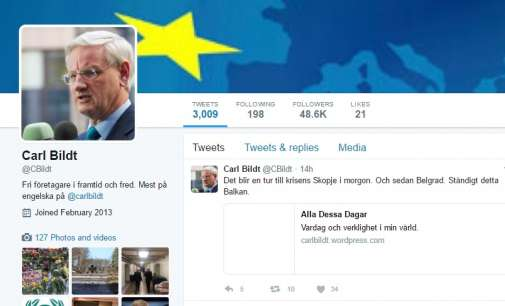"""Карл Билд објави на Твитер: """"Доаѓам во Скопје"""""""