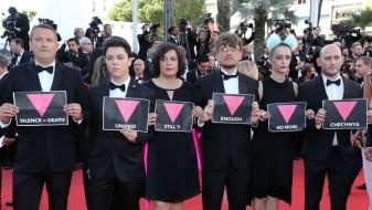 Судии од жирито во Кан со протест на црвениот тепих во поддршка на геј-мажите во Чеченија