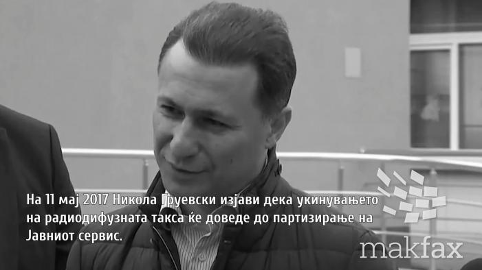 Груевски: Укинувањето на радиодифузната такса ќе го партизира јавниот сервис