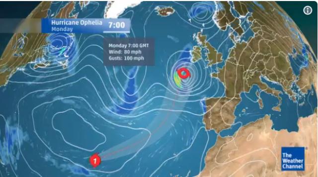 Ураганот Офелија ѝ се заканува на Европа