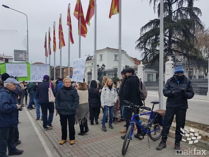 (Фото) Повеќе новинари од граѓани на денешниот протест против загадувањето