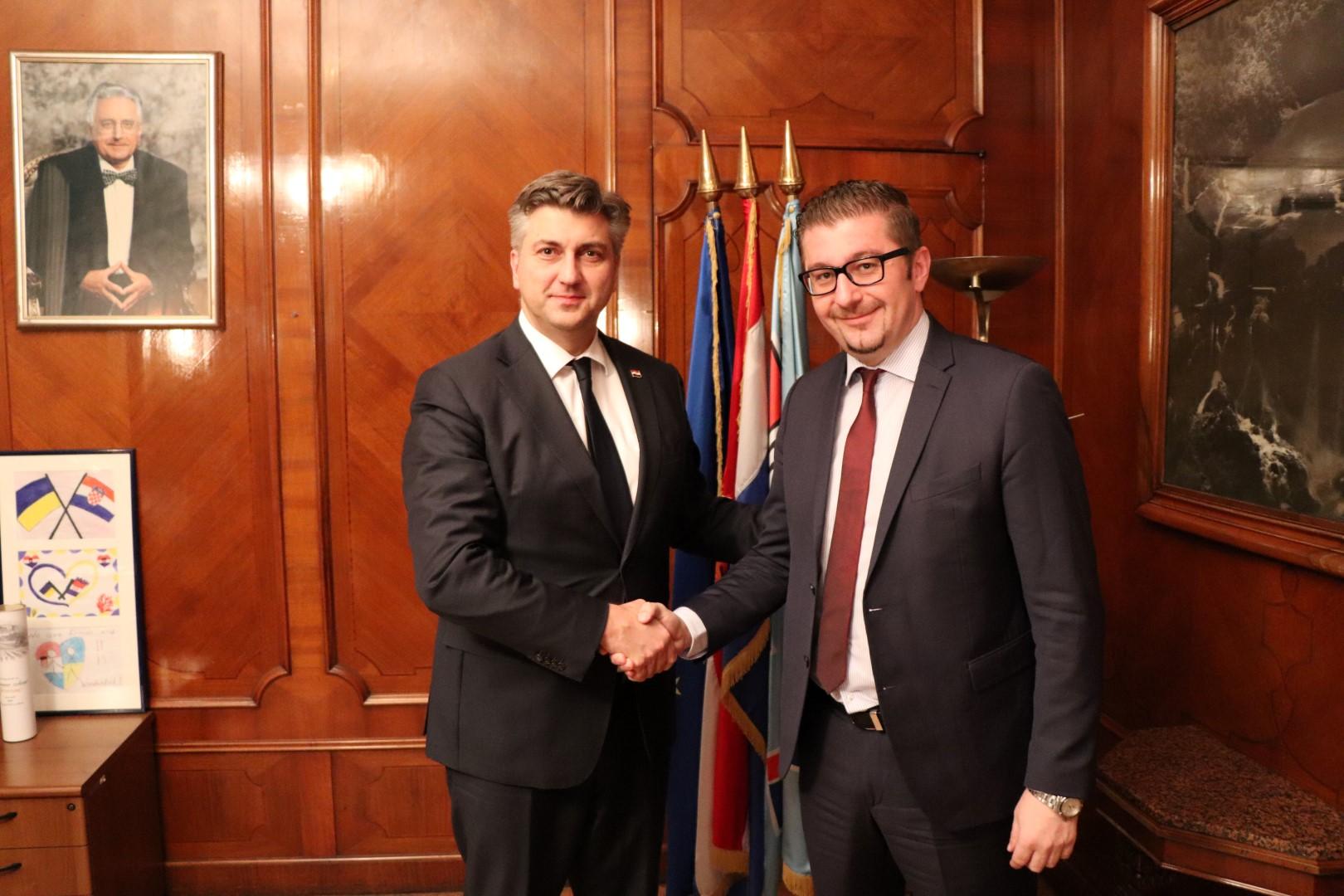 Мицкоски во Загреб оствари средба со хрватскиот премиер Пленковиќ