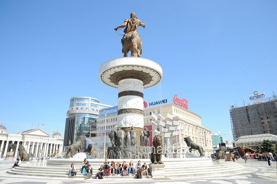 Скопје, плоштад, фонтана, Воин на коњ